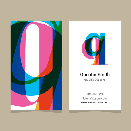 letter q: Logo alphabet letter q, with business card template. Vector graphic design elements for company logo.