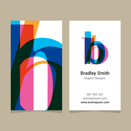 business letter: Logo alphabet letter b, with business card template. Vector graphic design elements for company logo.