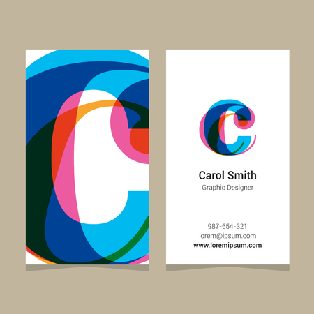 graphic elements: Logo alphabet letter c, with business card template. Vector graphic design elements for company logo. Illustration