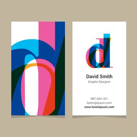 design vector: Logo alphabet letter d, with business card template. Vector graphic design elements for company logo.
