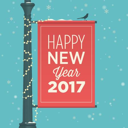 buisiness: Happy new year 2017 card, street sign, editable vector design Illustration