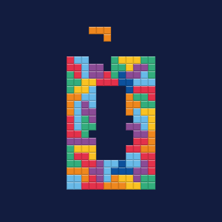 Logo number 0, video game pixel style. Editable vector design.