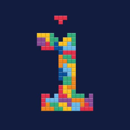 Logo number 1, video game pixel style. Editable vector design. Illustration