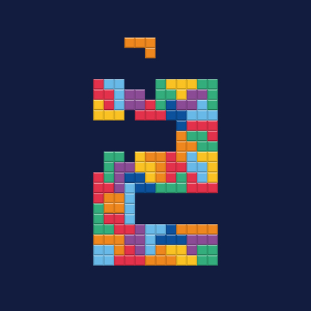 Logo number 2, video game pixel style. Editable vector design.