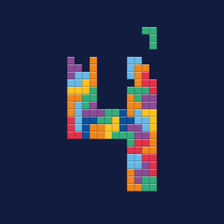 the nineties: Logo number 4, video game pixel style. Editable vector design. Illustration