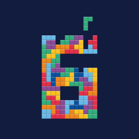 Logo number 6, video game pixel style. Editable vector design.