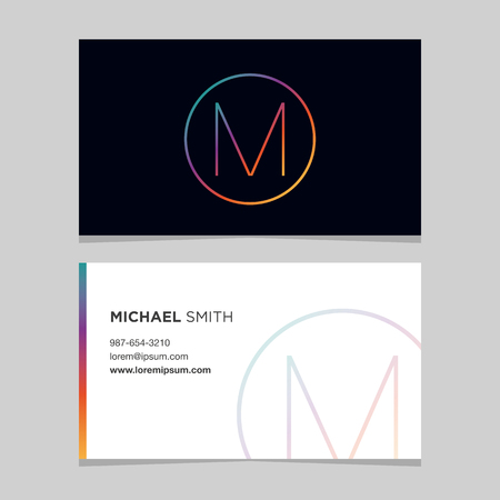 Logo alphabet letter M, with business card template. Vector graphic design elements for company logo. Illustration