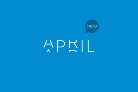 April logo with capitals letters in movement. Editable vector design.
