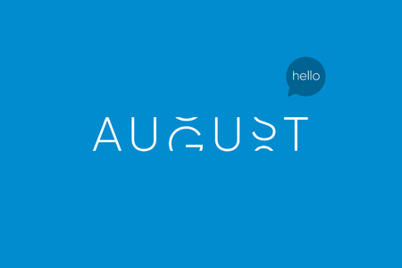 August logo with capital letters in movement. Editable vector design.