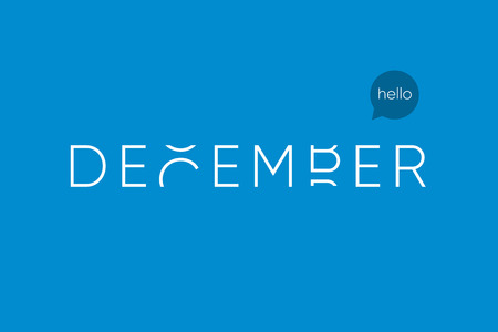 December logo with capitals letters in movement. Editable vector design. Illustration