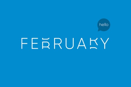 February logo with capital letters in movement. Editable vector design. Illustration
