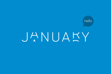 January logo with capitals letters in movement. Editable vector design.