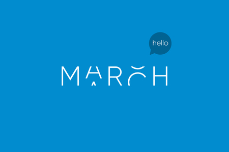 March logo with capitals letters in movement. Editable vector design. Illustration