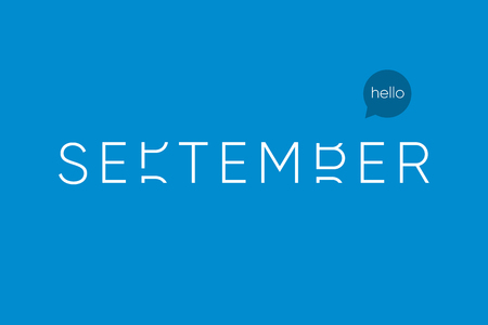 September logo with capitals letters in movement. Editable vector design.