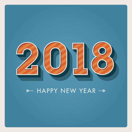 Happy new year 2018 card, numbers font. Editable vector design.
