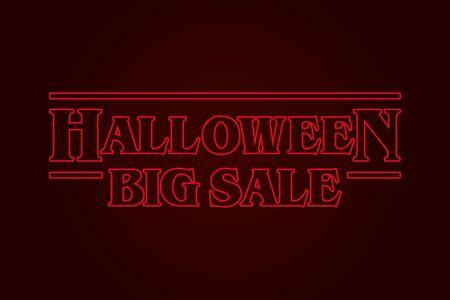 Halloween Big Sale logo, eighties design. Editable vector design.