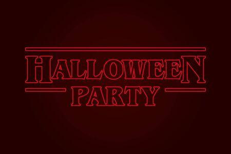 Halloween Party logo, eighties design. Editable vector design.