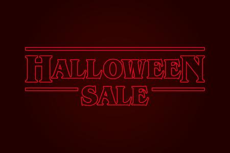 Halloween Sale text logo, eighties design. Editable vector design.