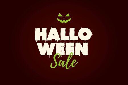 Halloween Sale text logo with pumpkin. Editable vector design.