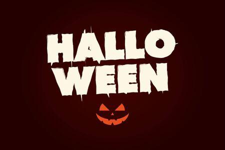 Halloween text with pumpkin. Editable vector design.