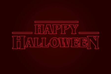 Happy Halloween text logo, eighties design. Editable vector design.