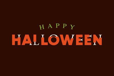 Happy Halloween text logo with lettering bones. Editable vector design. Illustration
