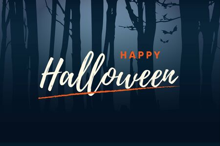 Happy Halloween handwriting text logo with night forest background. Editable vector design.