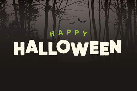 Happy Halloween logo with night forest background. Editable vector design.