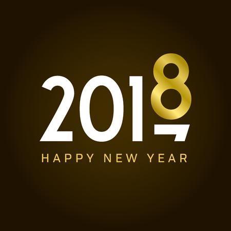 Happy new year 2018 card, movement type. Editable vector design.