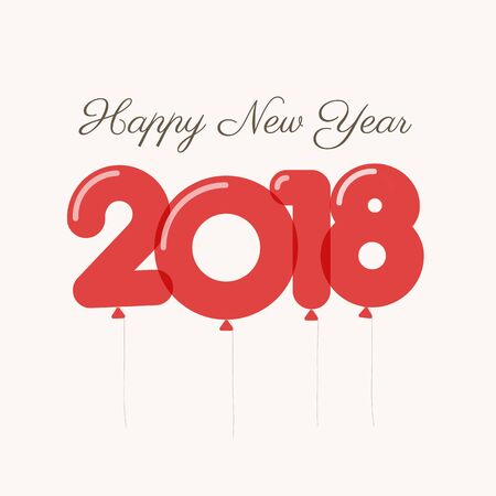 Happy new year 2018 card, balloons font, editable vector design