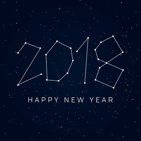 Happy new year 2018 card, constellations of the night sky. Editable vector design. Illustration