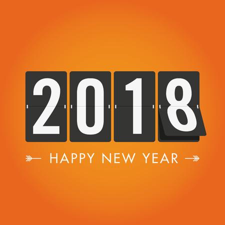 Happy new year 2018 mechanical timetable. Editable vector design.