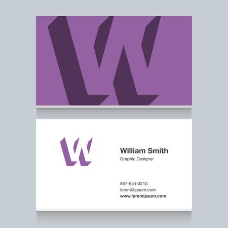 Icon of alphabet letter for cards - letter W Illustration