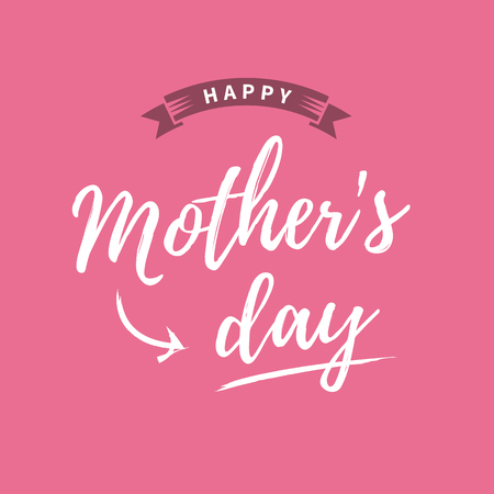 Happy mothers day card, pink background.