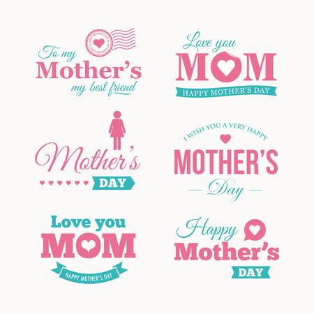 Happy mothers day logo set.