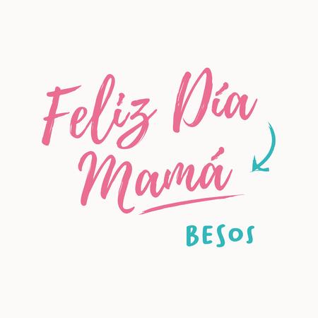 Happy mothers day card - Feliz dia mama, Spanish version. Editable vector icon design.