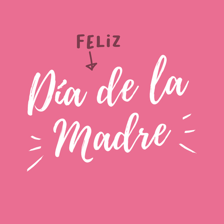 Happy mothers day card, pink background, Spanish version - Feliz Dia de la Madre. Editable vector design. Illustration