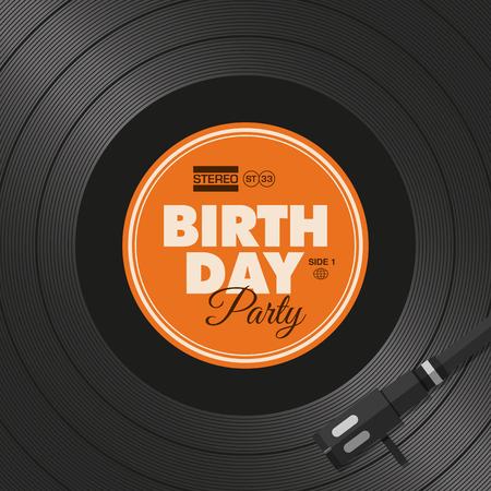 Birthday party card. Vinyl illustration background, vector editable design.