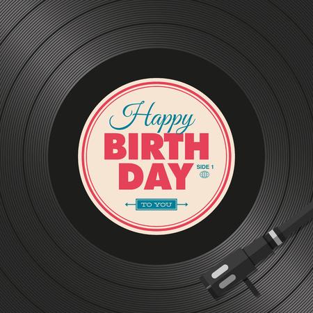 Happy birthday card. Vinyl illustration background, vector editable design.