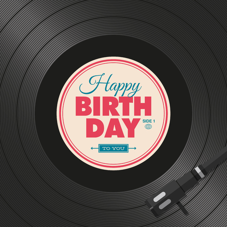 Happy birthday card. Vinyl illustration background, vector editable design.