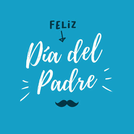Happy day card with icons mustache. Blue background. Spanish version.