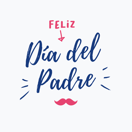 Happy day card with icons mustache. Spanish version. Illustration