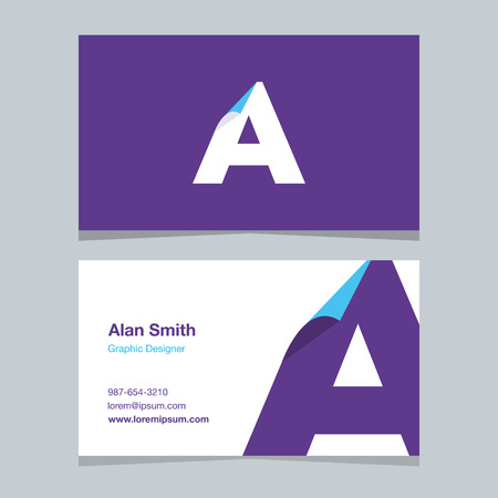 alphabet letter A, with business card template. Vector graphic design elements for company .