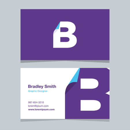 alphabet letter B, with business card template. Vector graphic design elements for company . 向量圖像