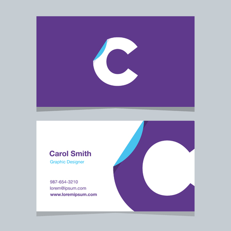 Alphabet letter C , with business card template. Vector graphic elements design for company .