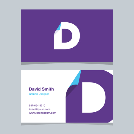 alphabet letter D, with business card template. Vector graphic design elements for company .