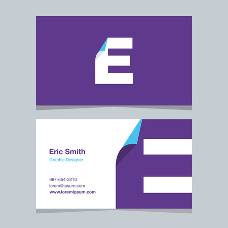 alphabet letter E, with business card template. Vector graphic design elements for company .