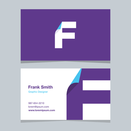 alphabet letter F, with business card template. Vector graphic design elements for company .