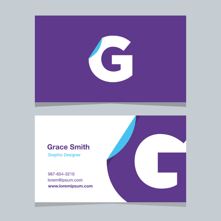alphabet letter G, with business card template. Vector graphic design elements for company .