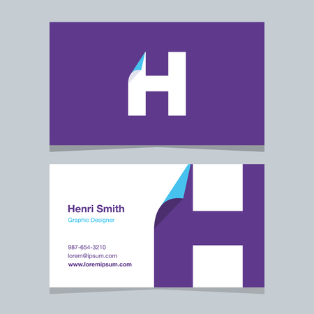 alphabet letter H, with business card template. Vector graphic design elements for company .